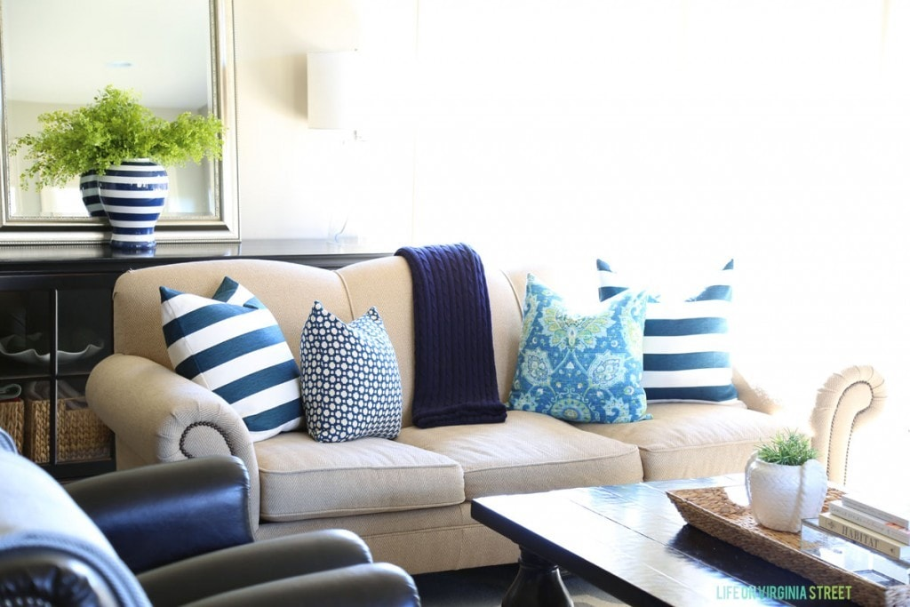Spring Living Room with Navy Stripes and Turquoise and Green Accents via Life On Virginia Street