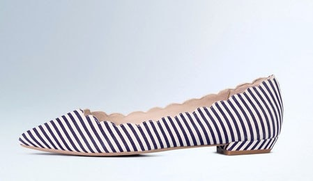 Striped Scallop Pointed Flats
