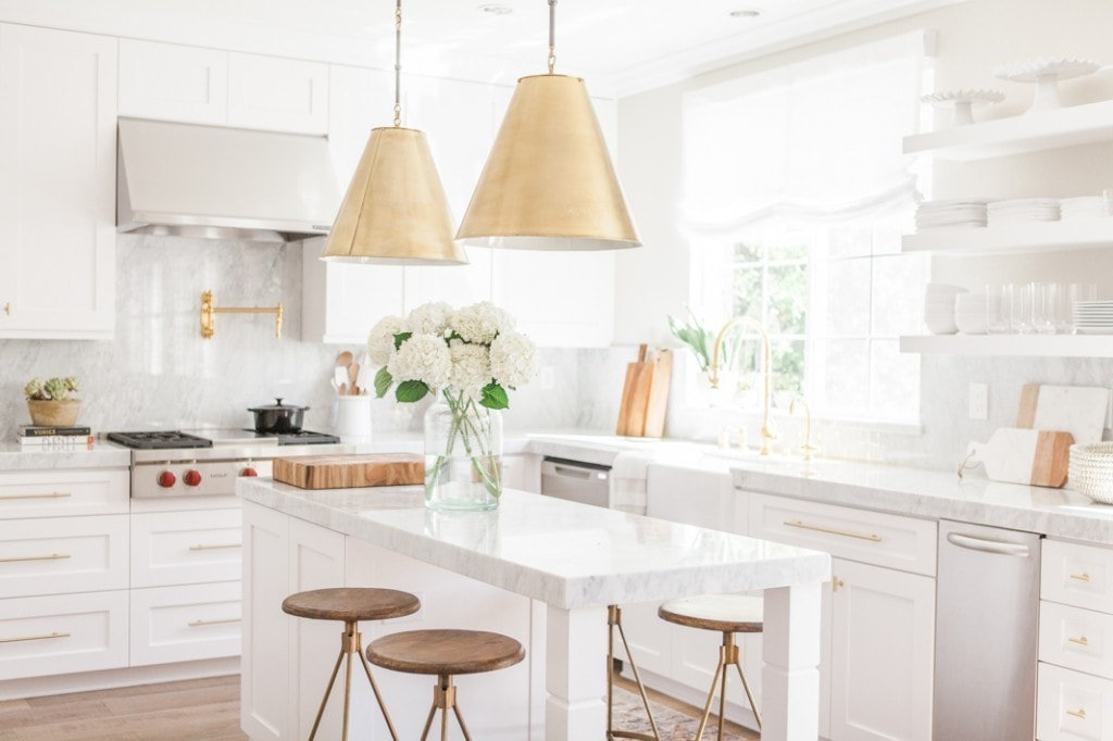 White and Brass Kitchen by Nicole Davis