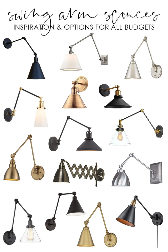 A collection of swing arm sconces graphic.