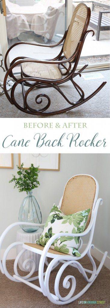 Cane Back Rocker Makeover Before & After via Life On Virginia Street