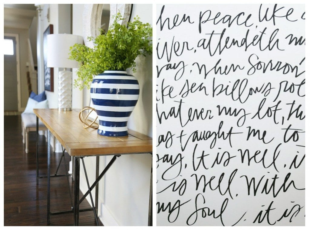 Entryway Details with Navy Striped Vase and 'It Is Well' Canvas via Life On Virginia Street