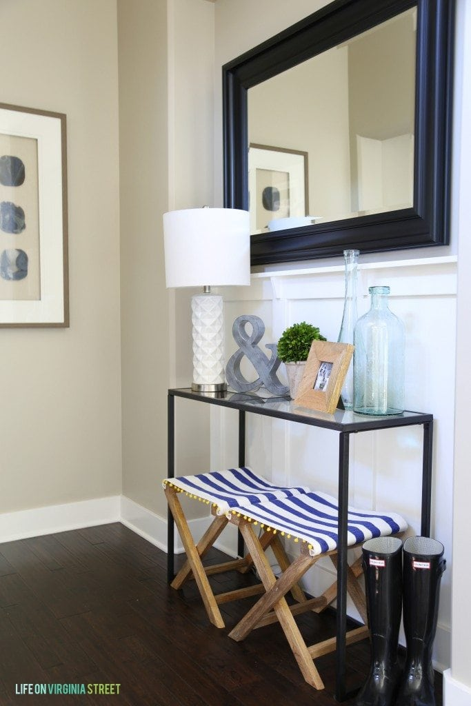 Entryway Table with Striped Benches and Rain Boots - Life On Virginia Street - no watermark