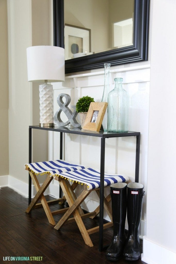 Entryway Table with striped benches and rain boots - Spring Home Tour at Life On Virginia Street