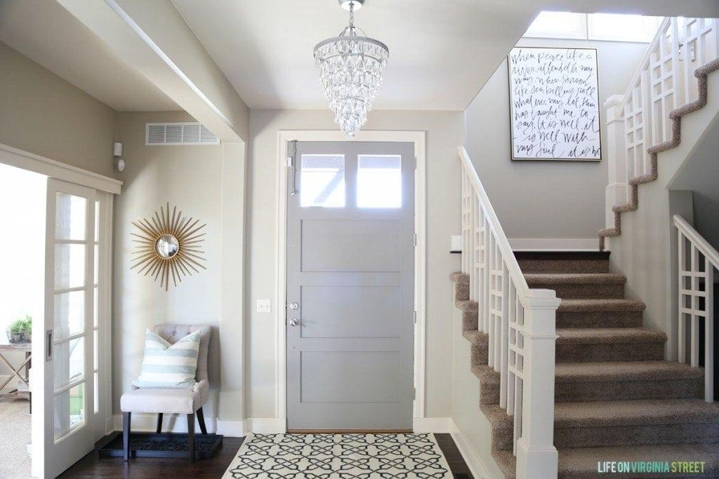 Entryway with Gray Door via Life On Virginia Street