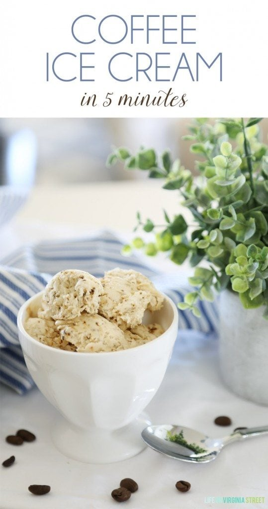 Coffee ice cream in 5 minutes graphic.