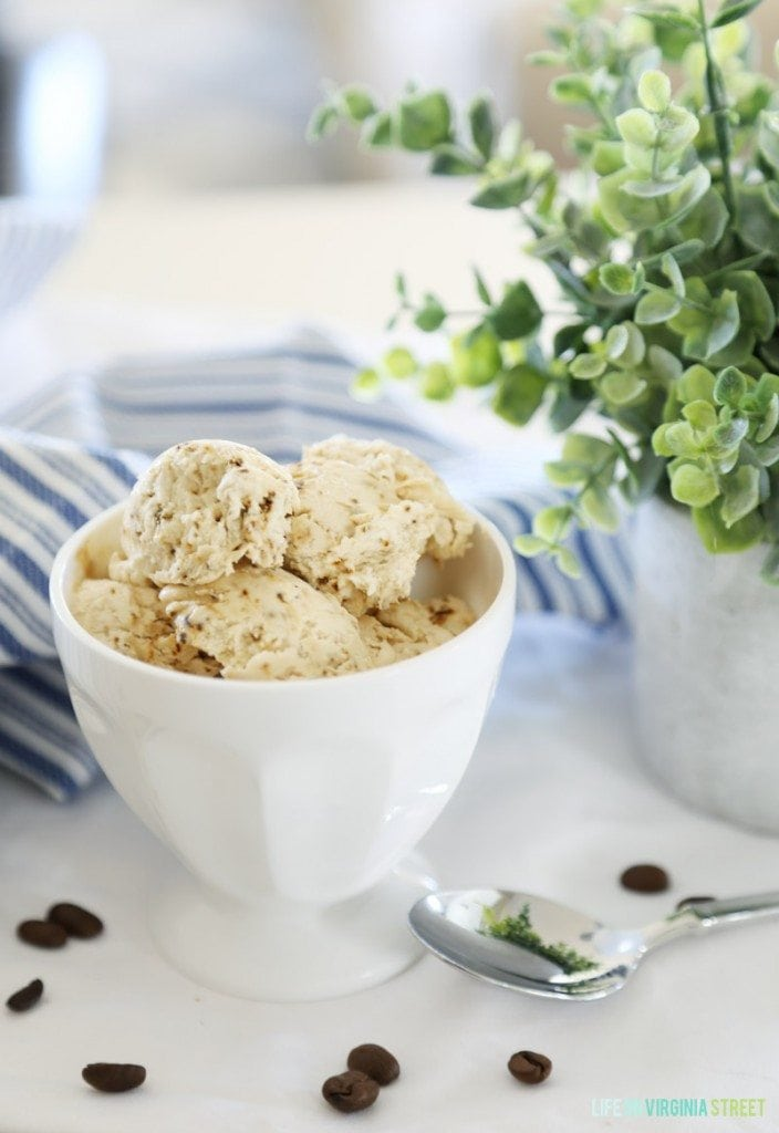 Five Minute Coffee Ice Cream Recipe - No Ice Cream Machine Required! So creamy and delicious!