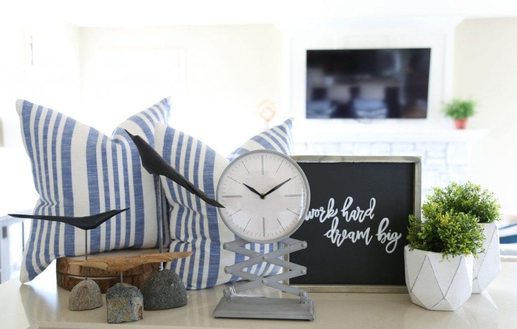 Love These Home Decor Finds For Spring Blue And White Linen Striped Pillows Work