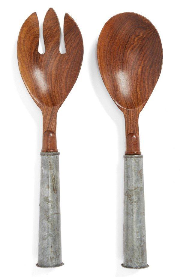 Wood & Galvanized Iron Salad Set