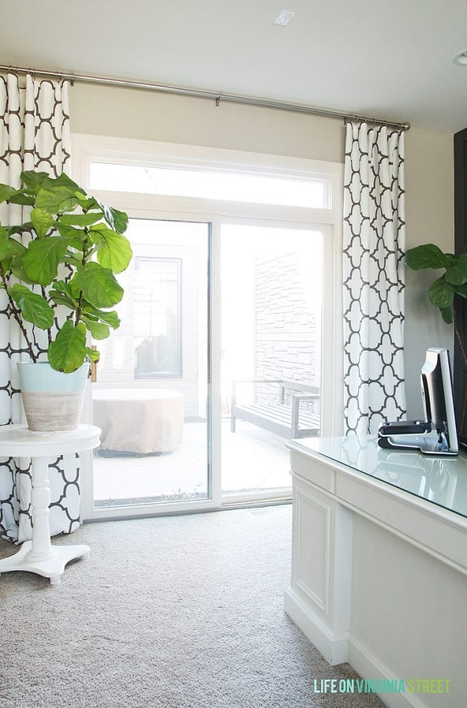 Office Trellis Drapes via Life On Virginia Street