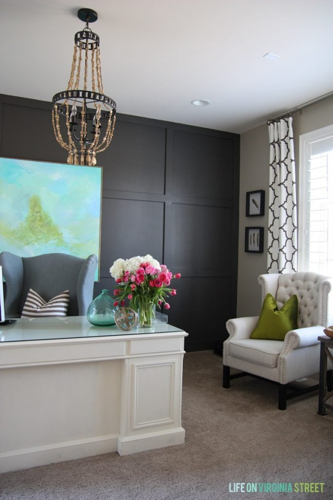 Life On Virginia Street Home Tour: Office with Sherwin Williams Urbane Bronze Board & Batten via Life On Virginia Street