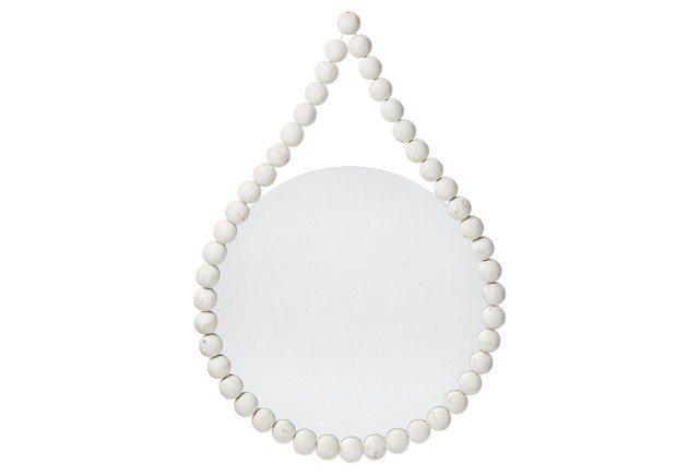 White Beaded Hanging Mirror
