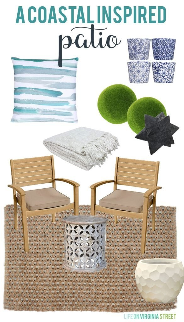 A Coastal Inspired Patio Design Board via Life On Virginia Street