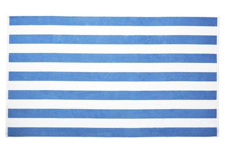 French Blue Striped Cabana Towel