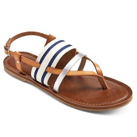 Navy stripe and leather sandal