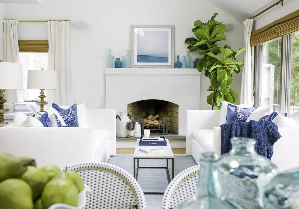 White, Blue and Green Living Room via Laurel & Wolf