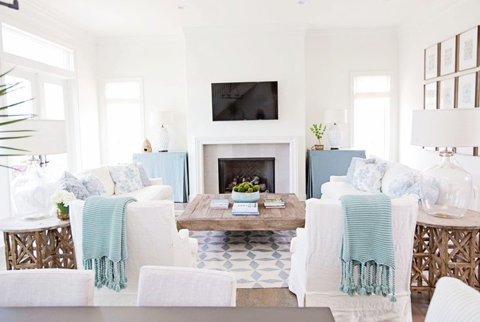 White Living Room with Blue Green and Aqua Accents