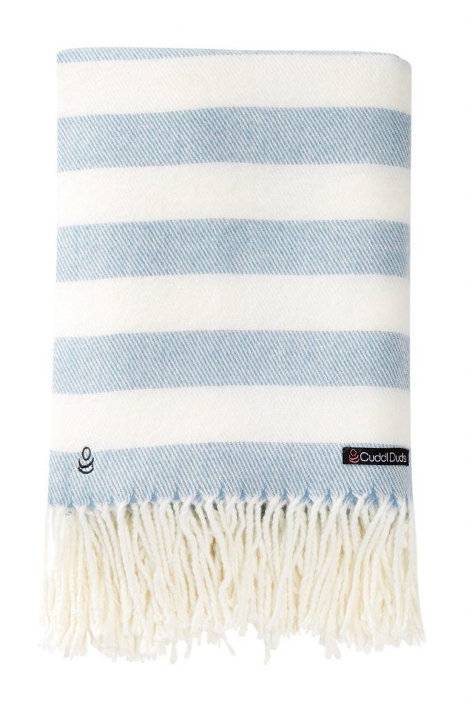 blue white striped throw