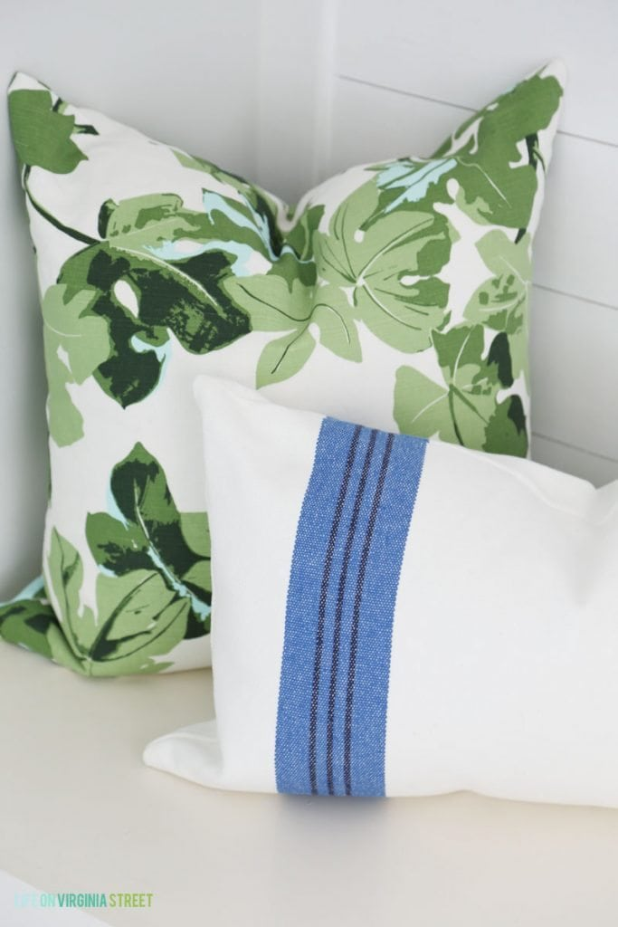 Blue and Green Mud Room Throw Pillows via Life On Virginia Street Summer Home Tour