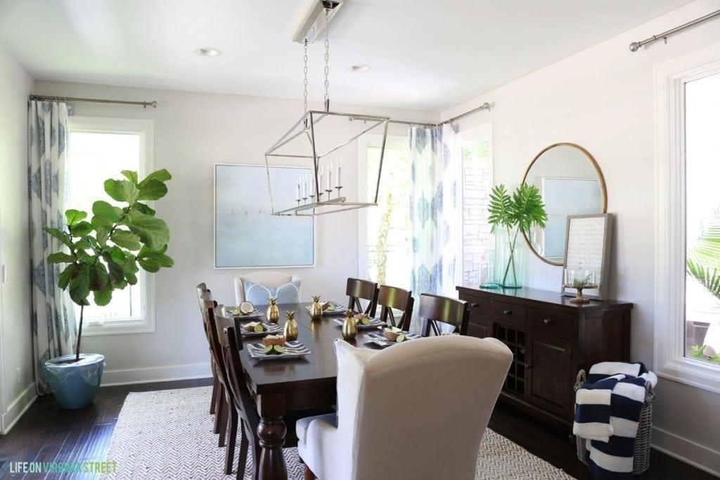 Blue and Green Summer Dining Room via Life On Virginia Street