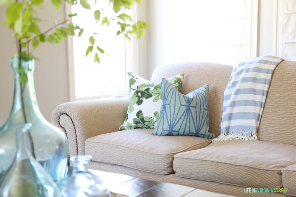 Blue and Green Summer Living Room Pillows - Fig Leaf and Katana - Life On Virginia Street