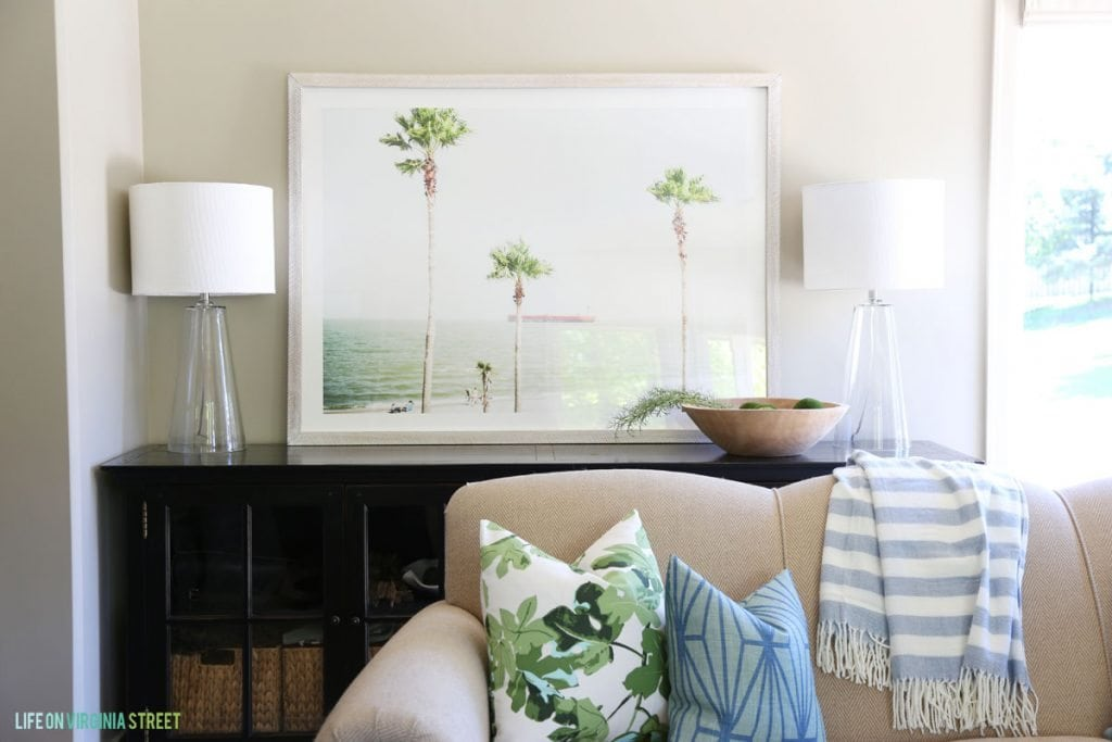 Blue and Green Summery Living Room via Life On Virginia Street