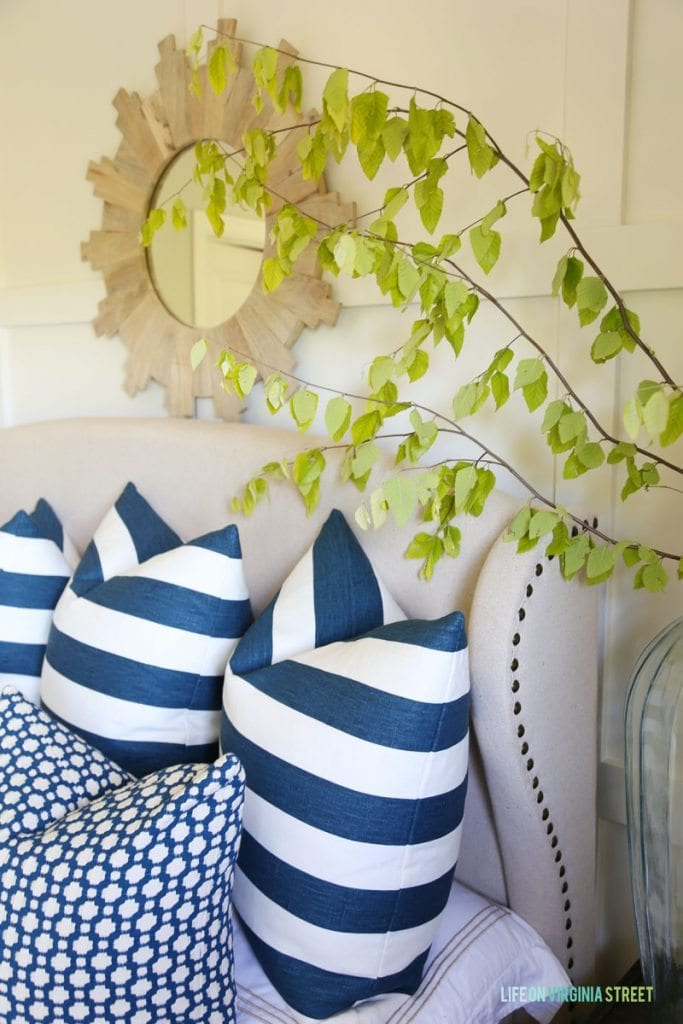 Blue and White Summery Guest Bedroom via Life On Virginia Street