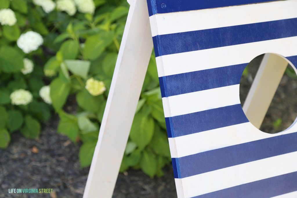 DIY Blue and White Striped Football Toss Game via Life On Virginia Street
