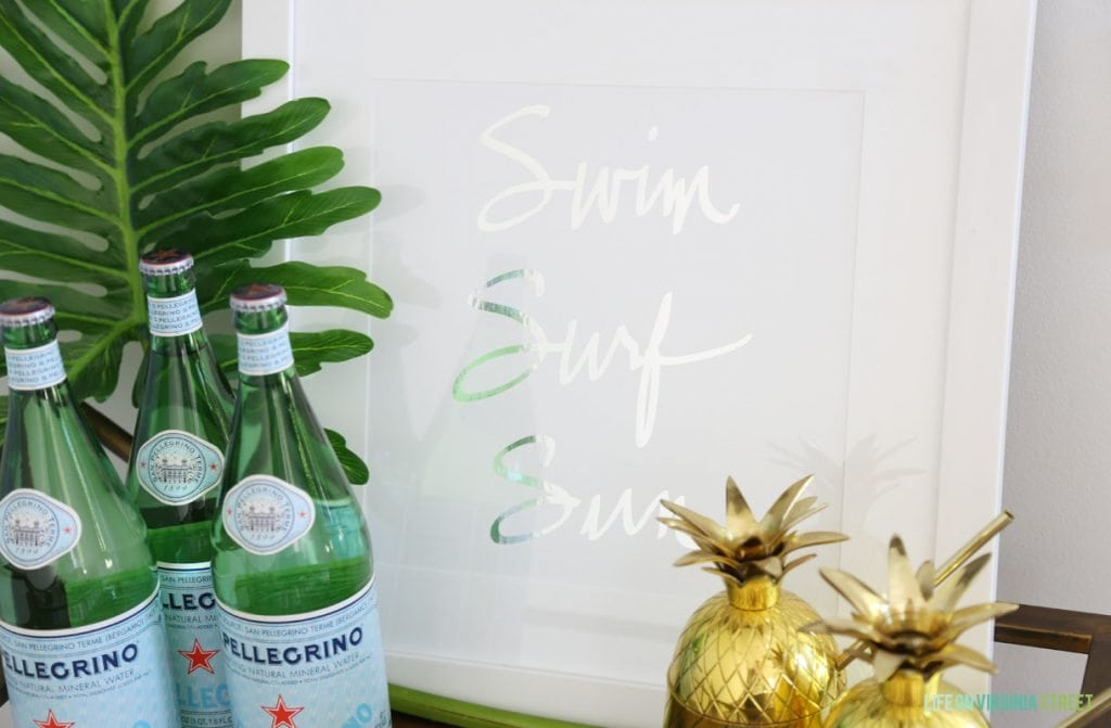 Swim Surf Sun Bar Cart Details via Life On Virginia Street