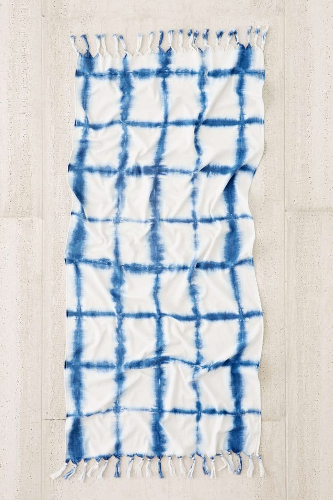 Tie-Dye Grid Beach Towel