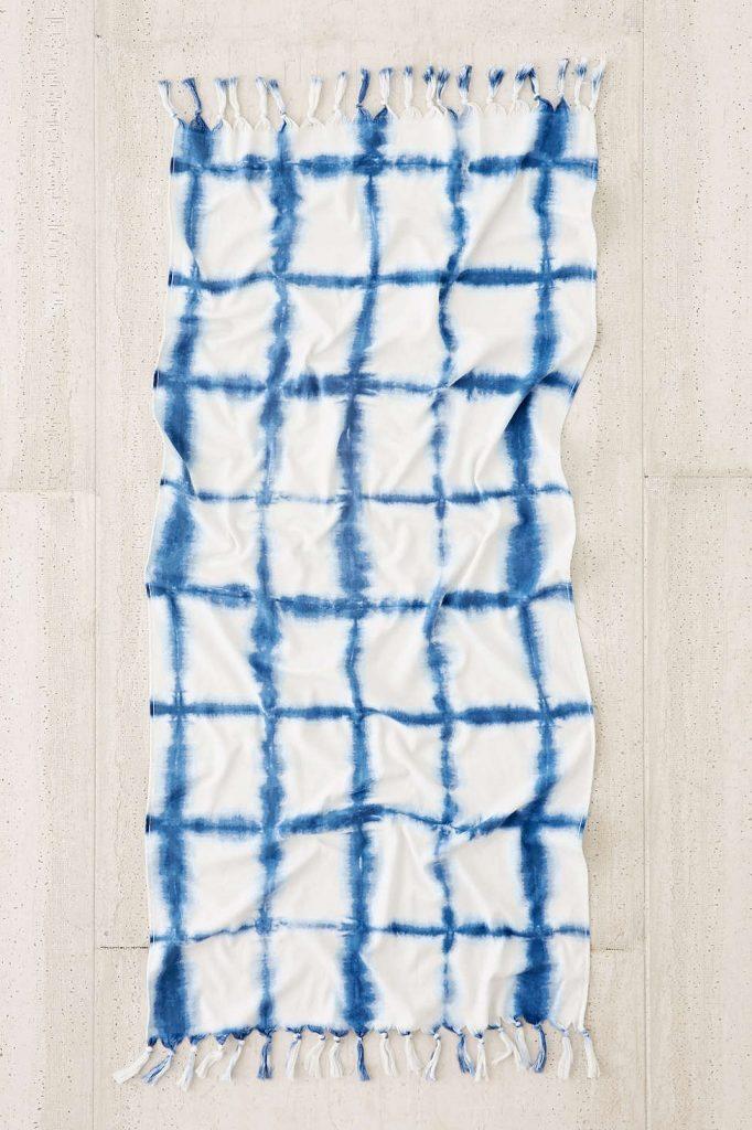 Tie-Dye Grid Beach Towel