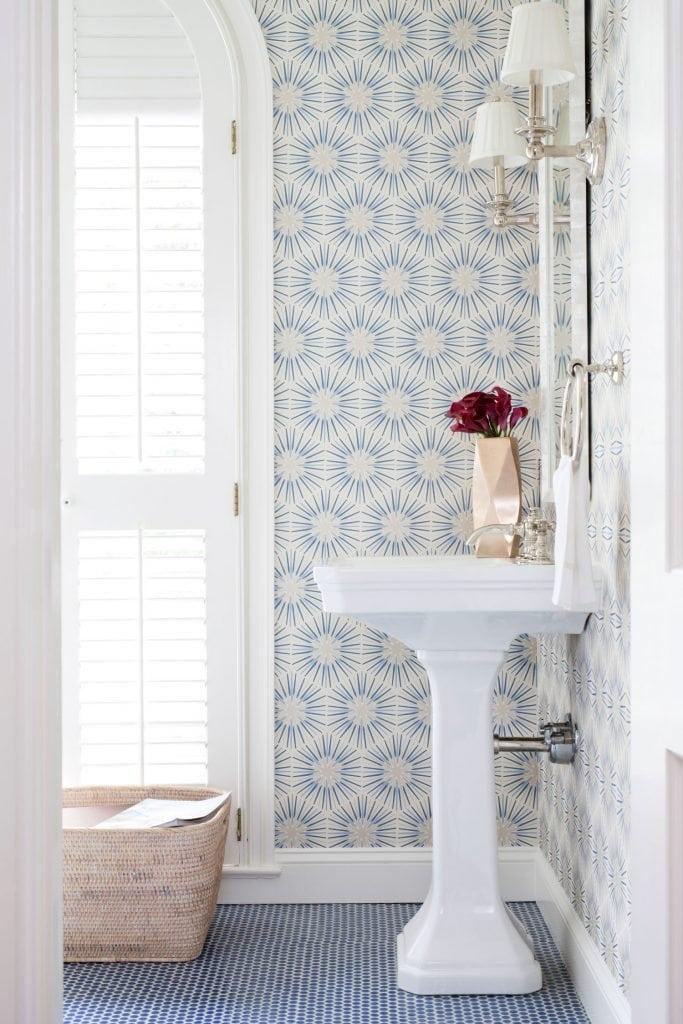 Traditionally Modern Bathroom with Blue and White Wallpaper via Ella Scott Design