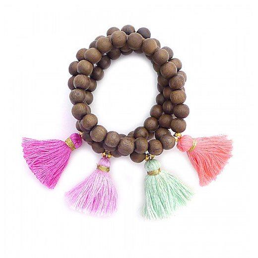 Wood Bead Tassel Bracelet