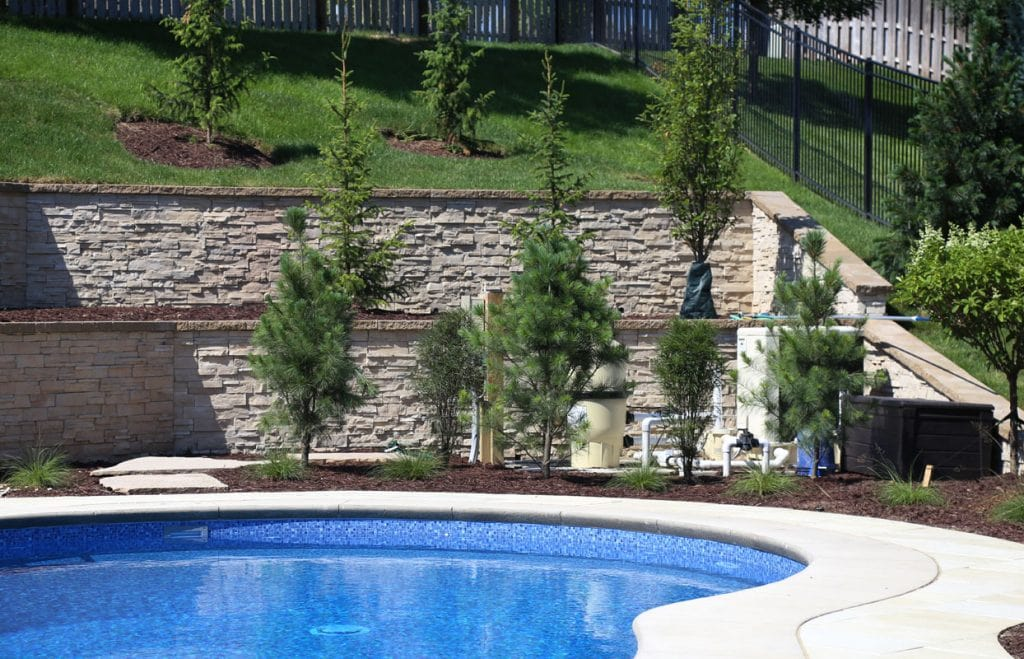 Backyard landscaping to hide the pool controls and keep them out of sight.