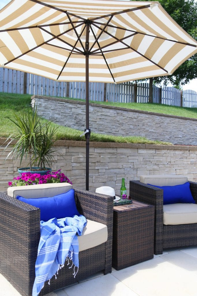 Belham Living Pavani All Weather Wicker 3 Piece Chat Set and Coral Coast Striped Olefin Fashion Umbrella.