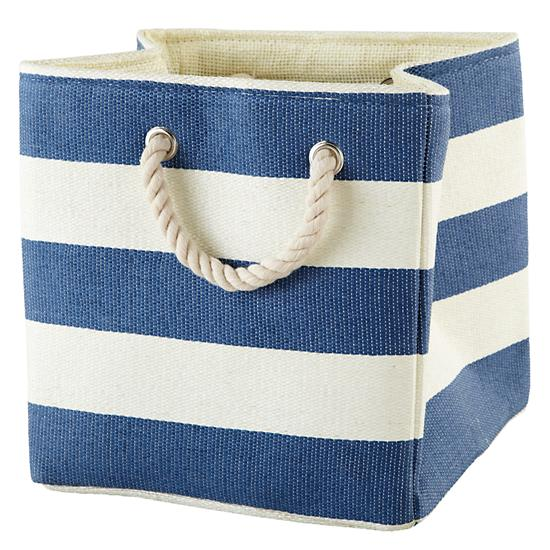 Blue Striped Storage Bin