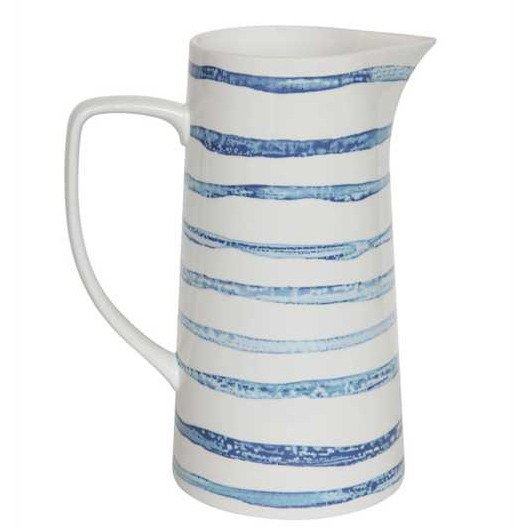Blue and White Striped Stoneware Pitcher Vase