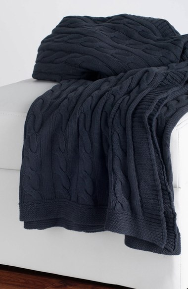 Navy Cable Knit Cotton Throw
