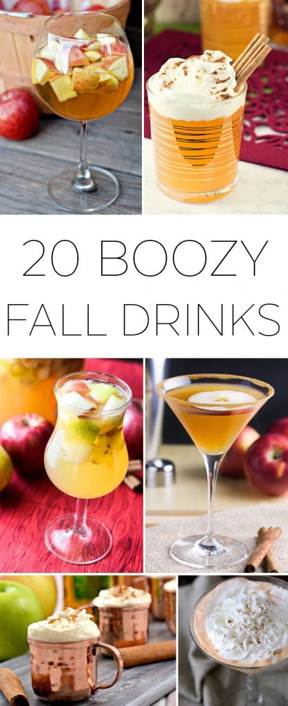 20 boozy fall drinks poster.