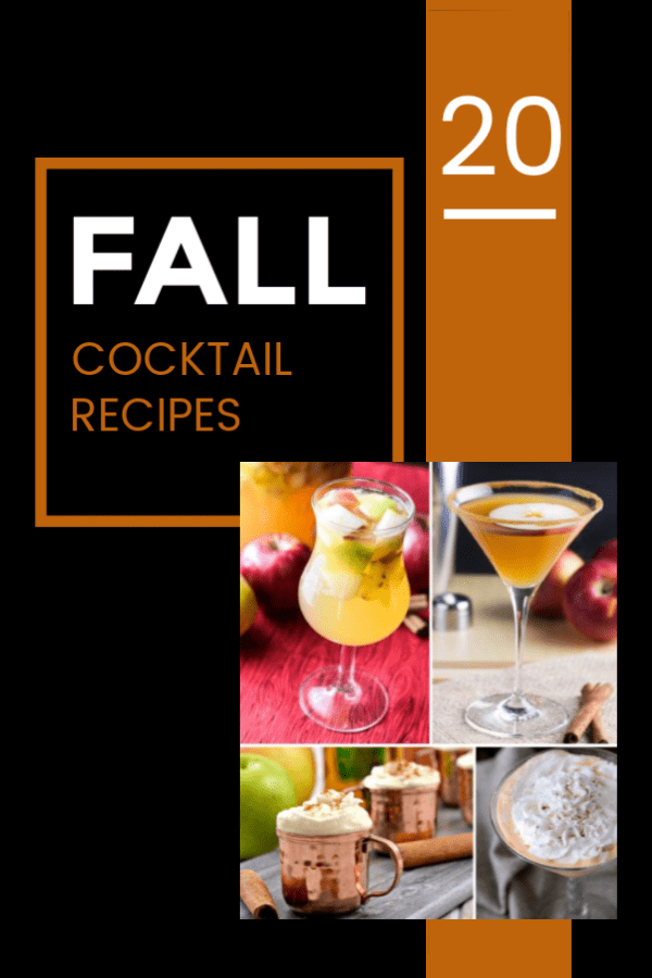 A collection of 20 fall cocktail recipes that are delicious any time of year! The fall drinks use ingredients like apple, pear, cinnamon, whiskey, bourbon, and more!