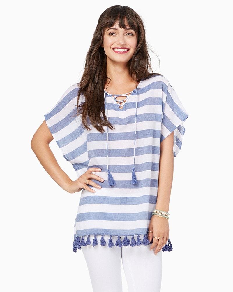 Blue and White Stripe Tassel Poncho