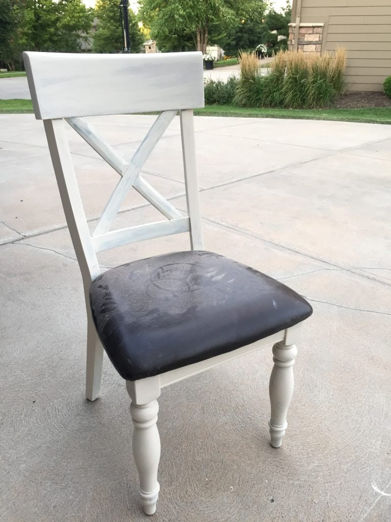 Dark Stain to a Driftwood Finish: Wood chair painted with cream chalk paint