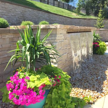 Container Planters and Pondless Waterfall