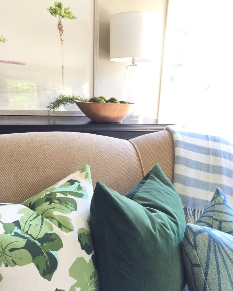 Fall Living Room with Fig Leaf Pillows and Green Velvet