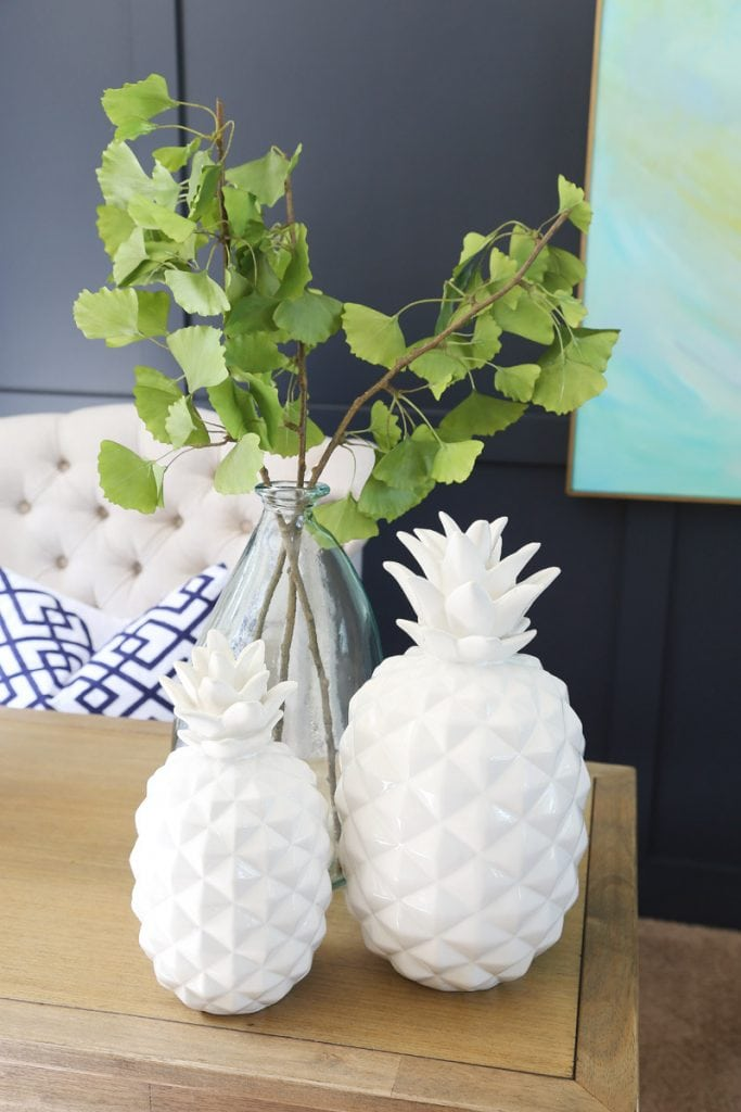 Office Desk Styling with Pineapples, Recycled Glass Vase and Gingko Leaves