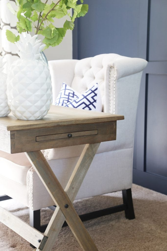 Office Desk X-Leg Details with blue, green and white accents