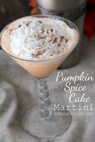 Pumpkin spice cake martini in a martini glass on the table.