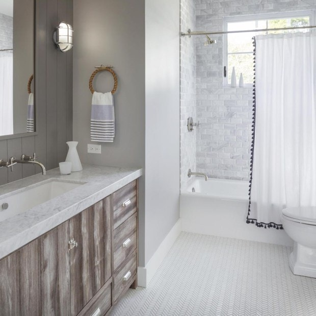 Rustic_Modern_Farmhouse_Bathroom via Sarah Sarna