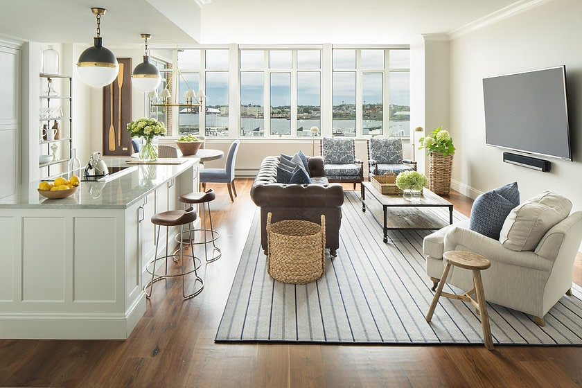 Coastal Living Room and Kitchen via Kelly McGuill Home