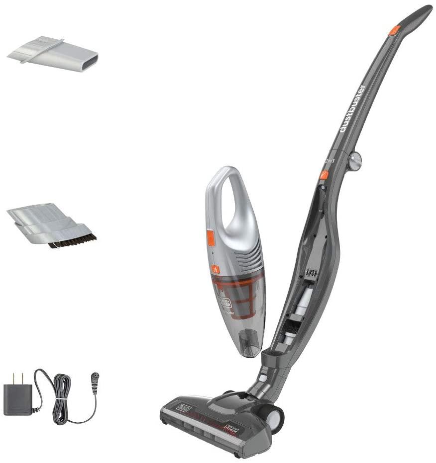 This cordless vacuum helps us to keep pet fur off our dark hardwood floors!